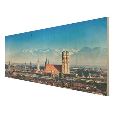 Product picture Wood Print - Munich - Panorama Wide