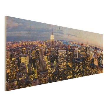 Immagine del prodotto Stampa su legno - New York skyline at night - Panoramico
