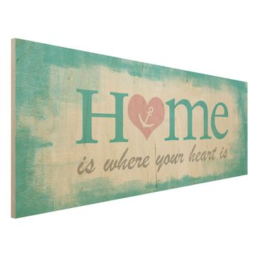 Produktfoto Holzbild mit Spruch - No.YK33 Home is where your Heart is - Panorama Quer