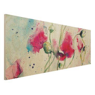 Immagine del prodotto Stampa su legno - Painted Poppies - Panoramico