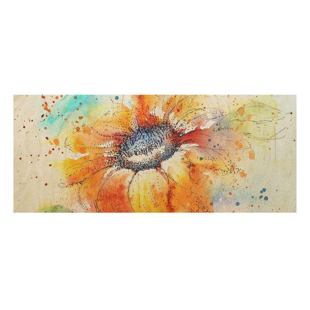 Produktfoto Holzbild - Painted Sunflower - Panorama...