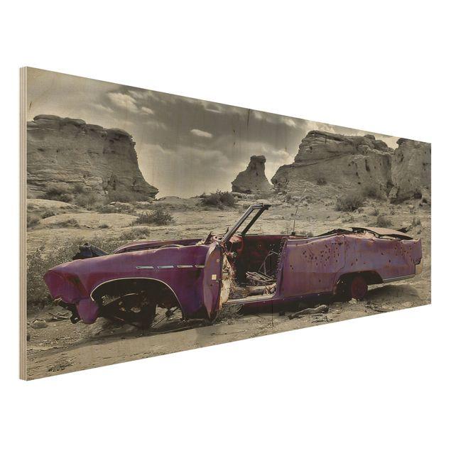 Wandbild Holz - Pink Cadillac - Panorama...