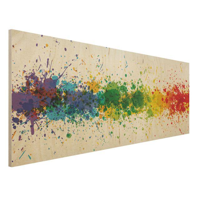 Holzbild - Rainbow Splatter - Panorama...
