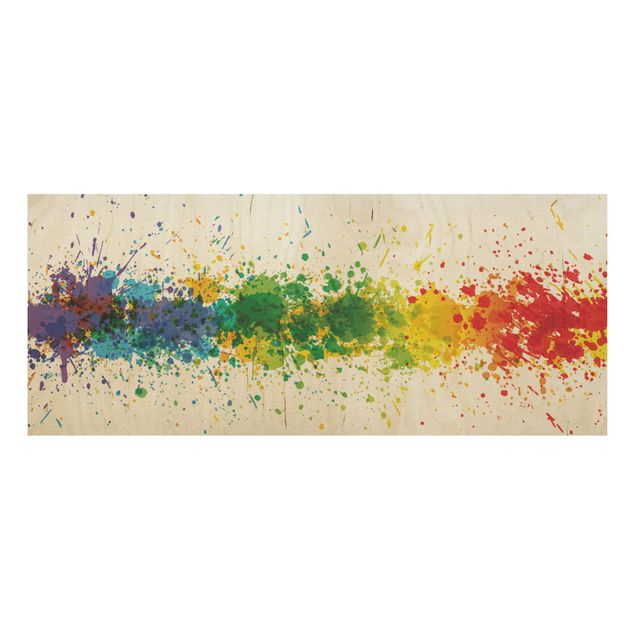 Produktfoto Holzbild - Rainbow Splatter - Panorama Quer