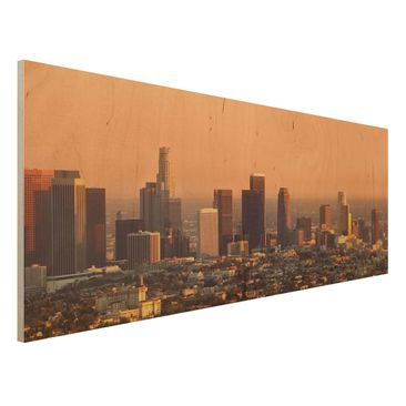 Produktfoto Holzbild - Skyline of Los Angeles - Panorama Quer
