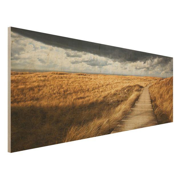 Produktfoto Holz Wandbild - Weg in den Dünen -...