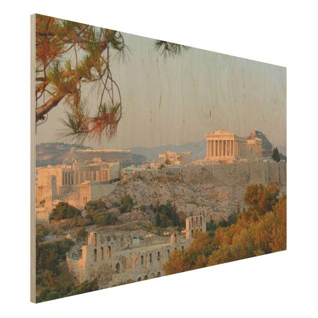 Produktfoto Wandbild aus Holz - Akropolis - Quer 2:3...