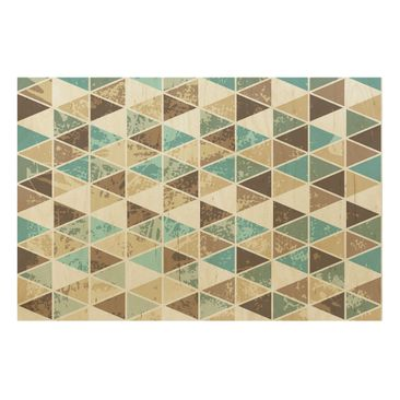 Product picture Wood Print - Triangle repeat pattern -...