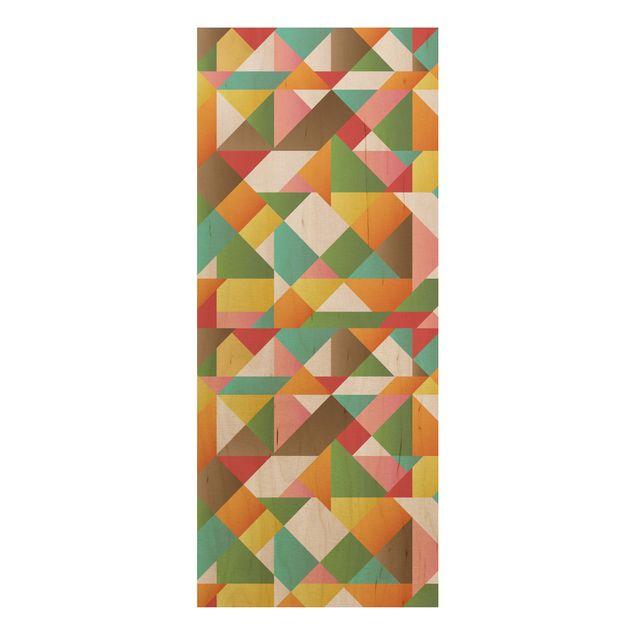 Produktfoto Wandbild Holz - Dreiecke Musterdesign - Panorama Hoch