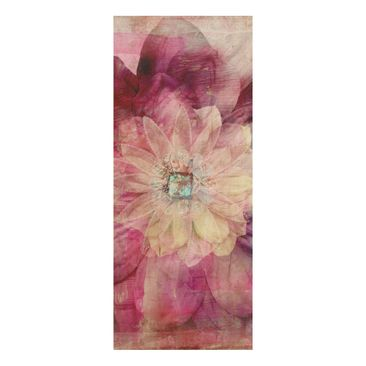 Product picture Wood Print - Grunge Flower - Panorama...