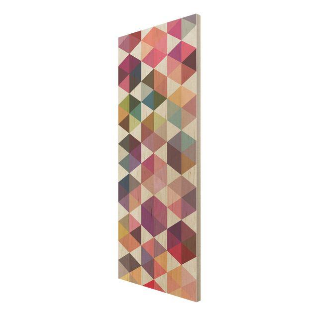 Produktfoto Wandbild Holz - Hexagon Facetten - Panorama Hoch