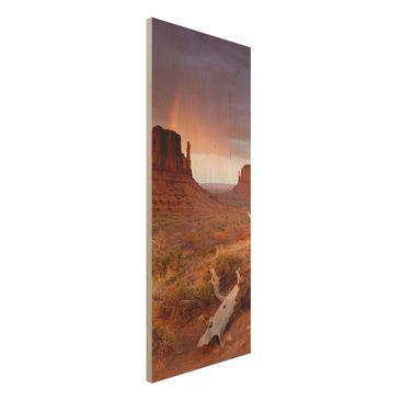 Produktfoto Wandbild aus Holz  - Monument Valley bei Sonnenuntergang - Panorama Hoch