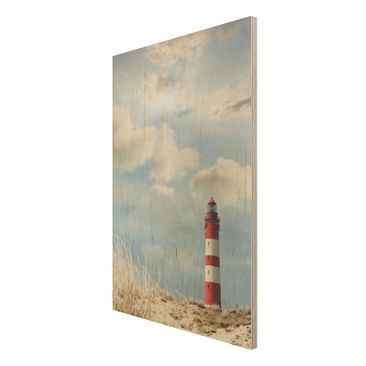 Product picture Wood Print - Lighthouse in the dunes -...