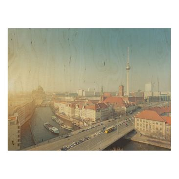 Product picture Wood Print - Berlin morning - Wide 3:4