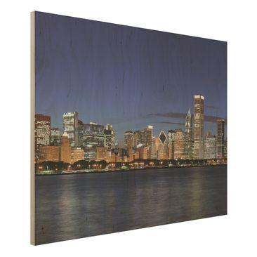 Immagine del prodotto Foto su legno - Chicago Skyline at night - Orizzontale 3:4