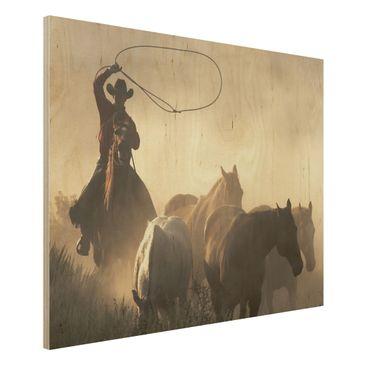 Produktfoto Bild aus Holz - Cowboys - Quer 3:4