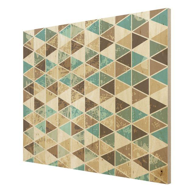 Produktfoto Wandbild Holz - Dreieck Rapportmuster -...
