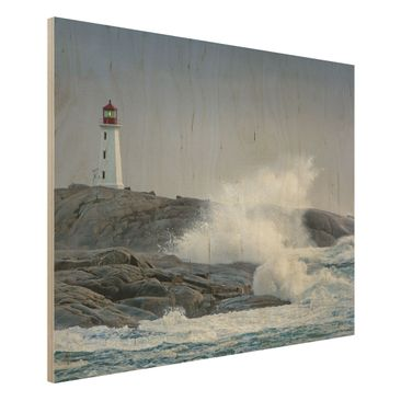 Immagine del prodotto Foto su legno - Storm Waves At The Lighthouse - Orizzontale 3:4
