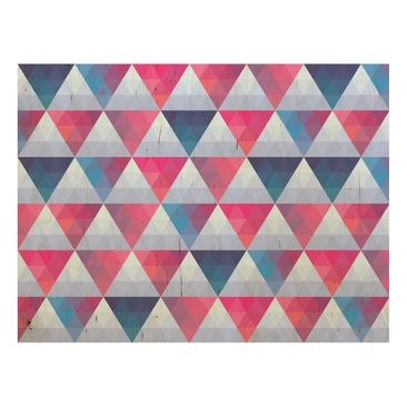 Product picture Wood Print - Triangle pattern design -...