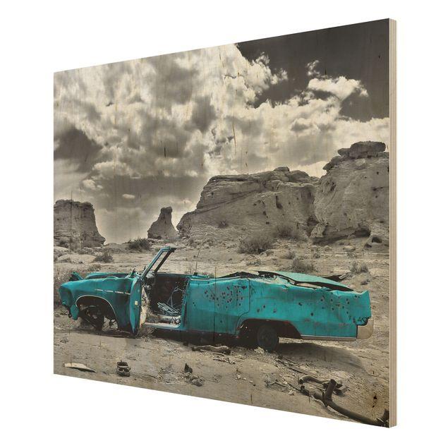 Produktfoto Holzbild - Türkiser Cadillac - Quer 3:4