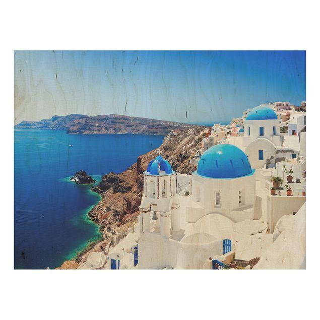 Produktfoto Holzbild - View Over Santorini - Quer 3:4