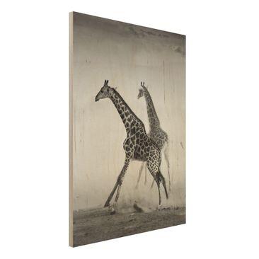 Immagine del prodotto Foto su legno - Giraffe hunting -...
