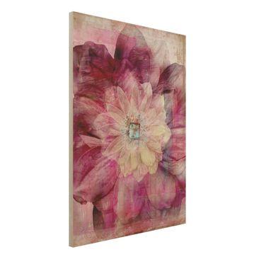 Produktfoto Holzbild - Grunge Flower - Hoch 4:3