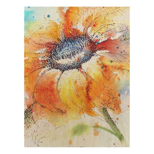 Produktfoto Holzbild - Painted Sunflower - Hoch 4:3
