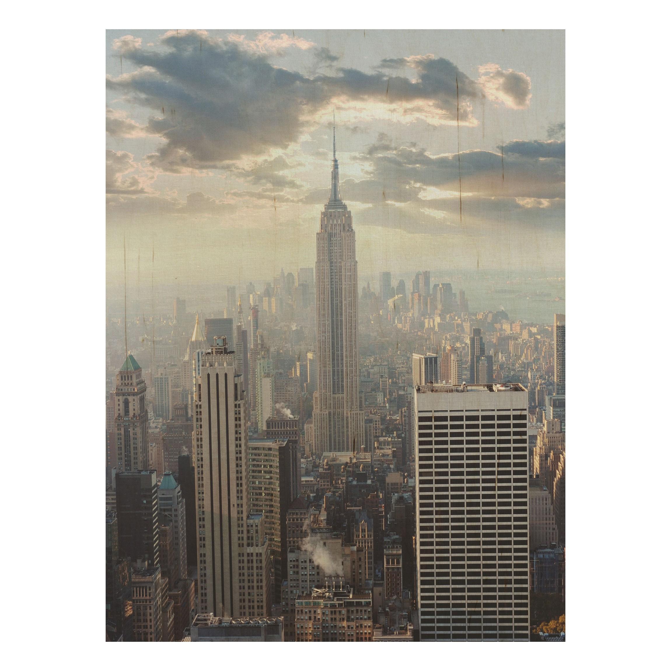 Holz Wandbild - Sonnenaufgang in New York - Hoch 4:3