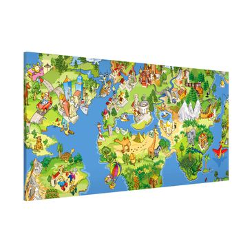 Produktfoto Magnettafel - Kinderzimmer - Great and funny Worldmap - Memoboard Panorama Quer