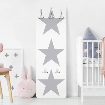 Product picture Coat Rack - Large Gray Stars on White...