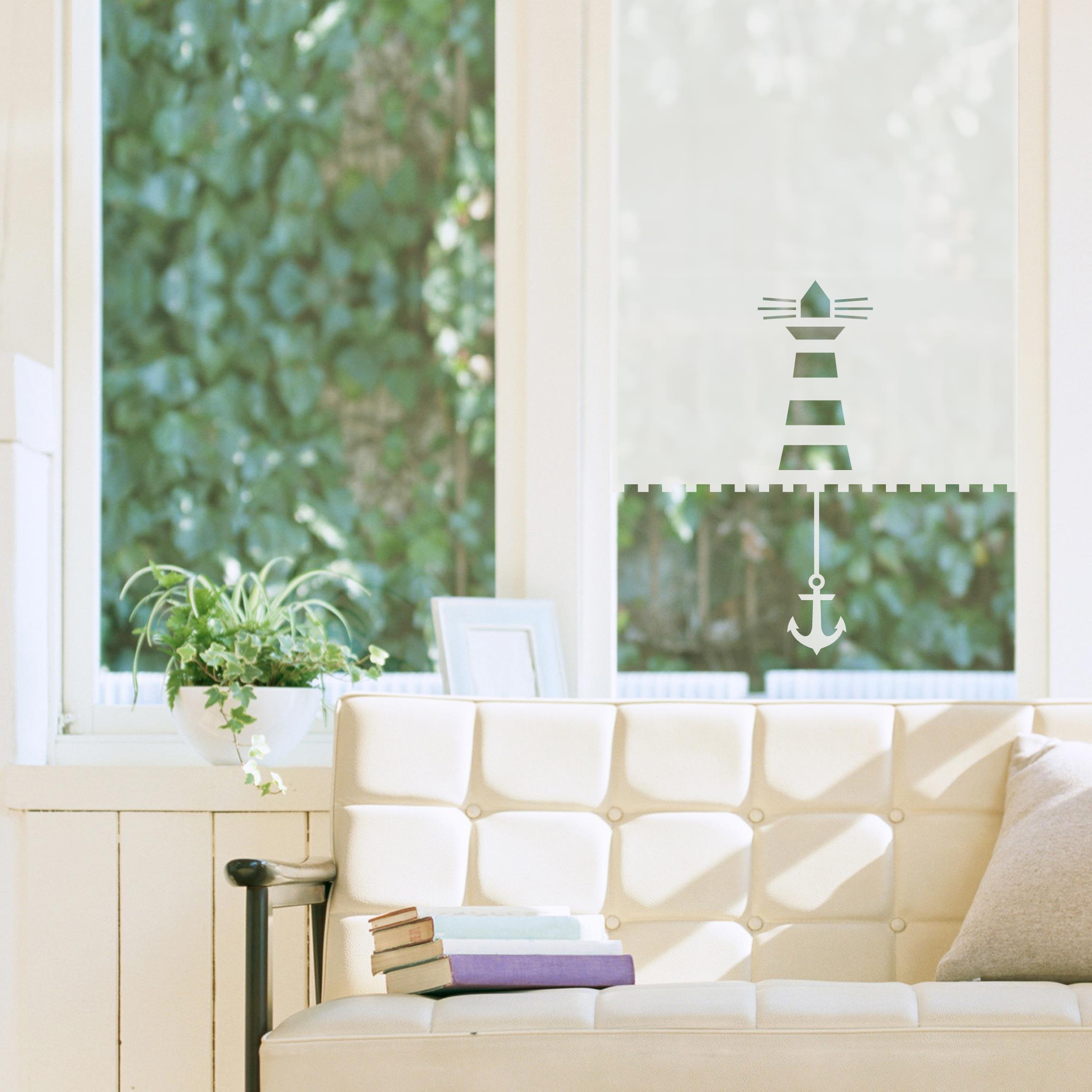 Sichtschutzfolie rollo optik leuchtturm und anker maritim milchglasfolie - Sichtschutzfolie badfenster ...
