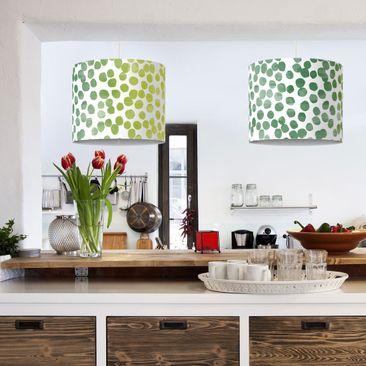 Produktfoto Pendelleuchte Punktemuster Grün Gelb - Lampe - Lampenschirm Punkte Hängeleuchte