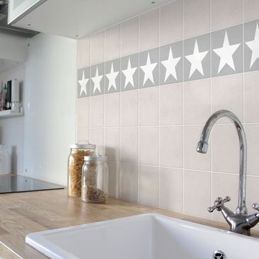 Product picture Tile Sticker - Large white stars on grey...