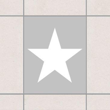 Produktfoto Fliesenaufkleber - Große weiße Sterne auf grau 25x20 cm - Fliesensticker Set Grau