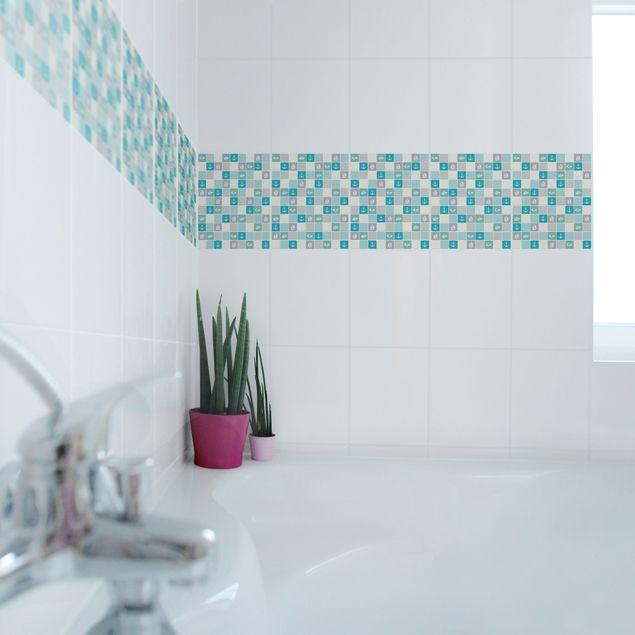 Produktfoto Fliesen Bordüre - selbstklebende Mosaikfliesen No.YK68 Maritim Türkis Blau Grau 25x20 cm - Fliesenaufkleber