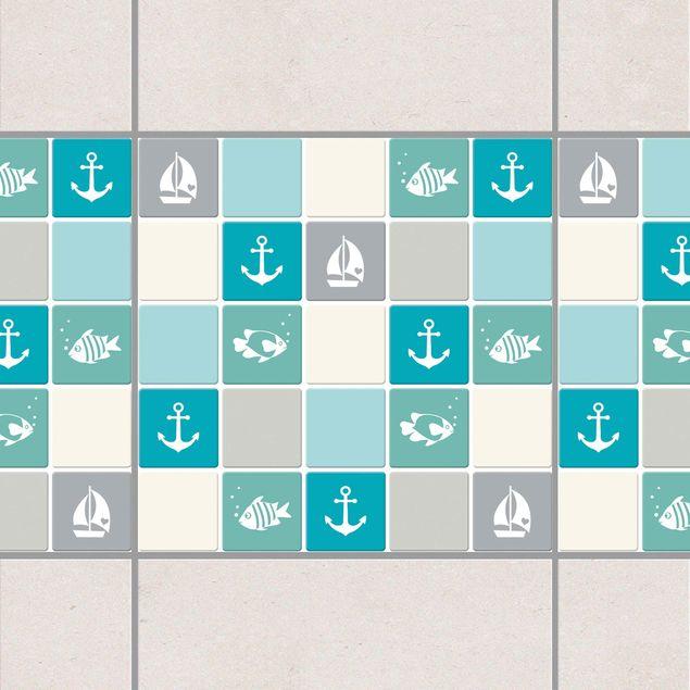 Fliesen Bordüre Selbstklebende Mosaikfliesen NoYK Maritim - Klebe bordüre für fliesen