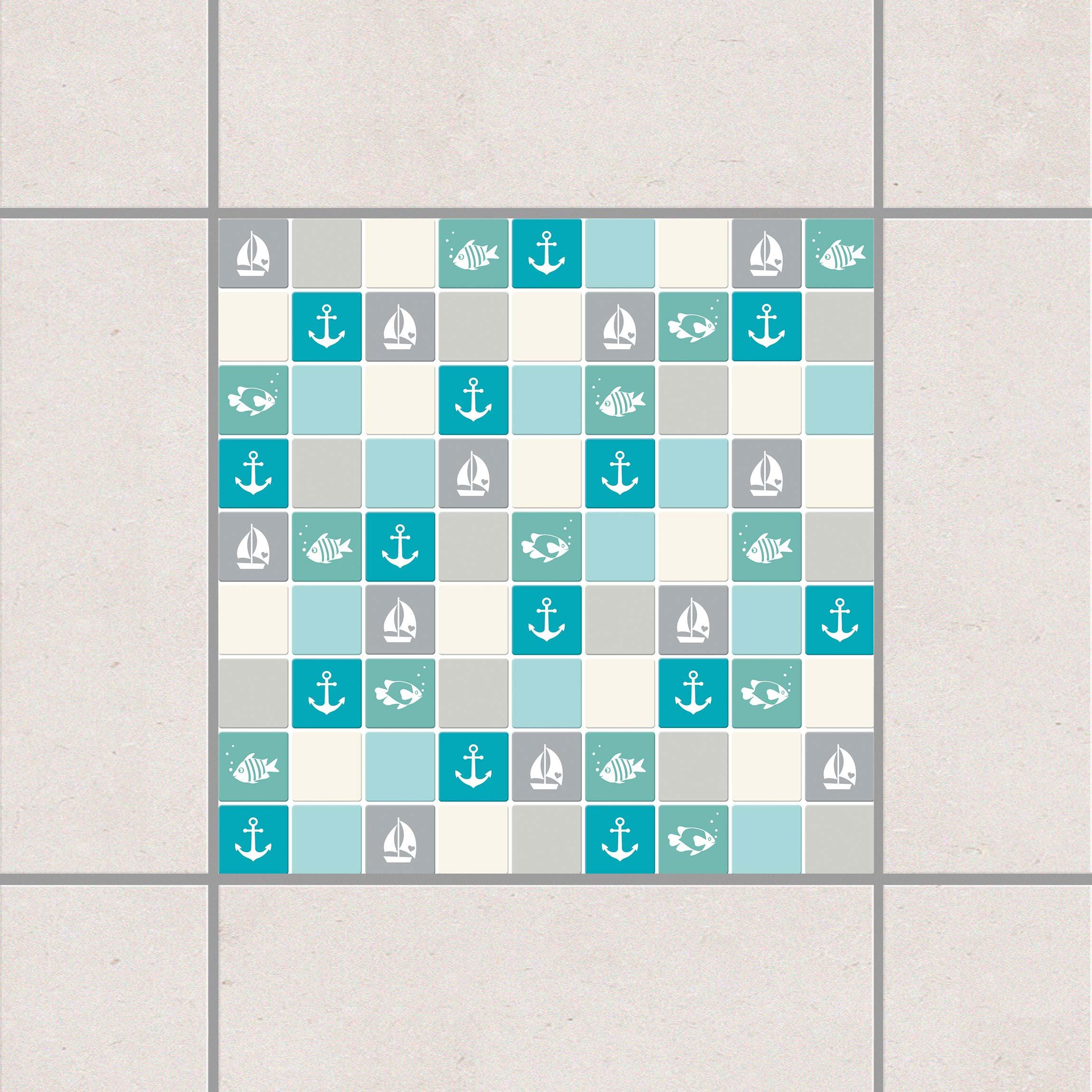 tile sticker mosaic tiles no yk68 maritime turquoise blue gray 20cm x 20cm. Black Bedroom Furniture Sets. Home Design Ideas