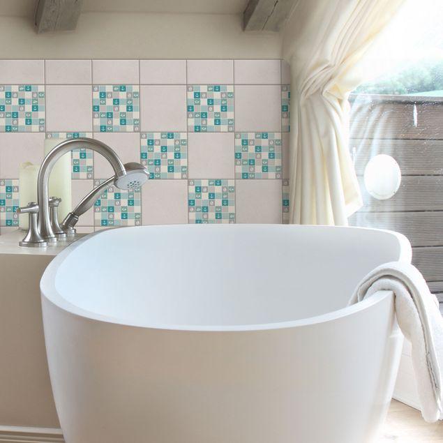 Produktfoto Fliesenaufkleber Mosaik - selbstklebende Mosaikfliesen No.YK68 Maritim Türkis Blau Grau 15x15 cm - Klebefliesen