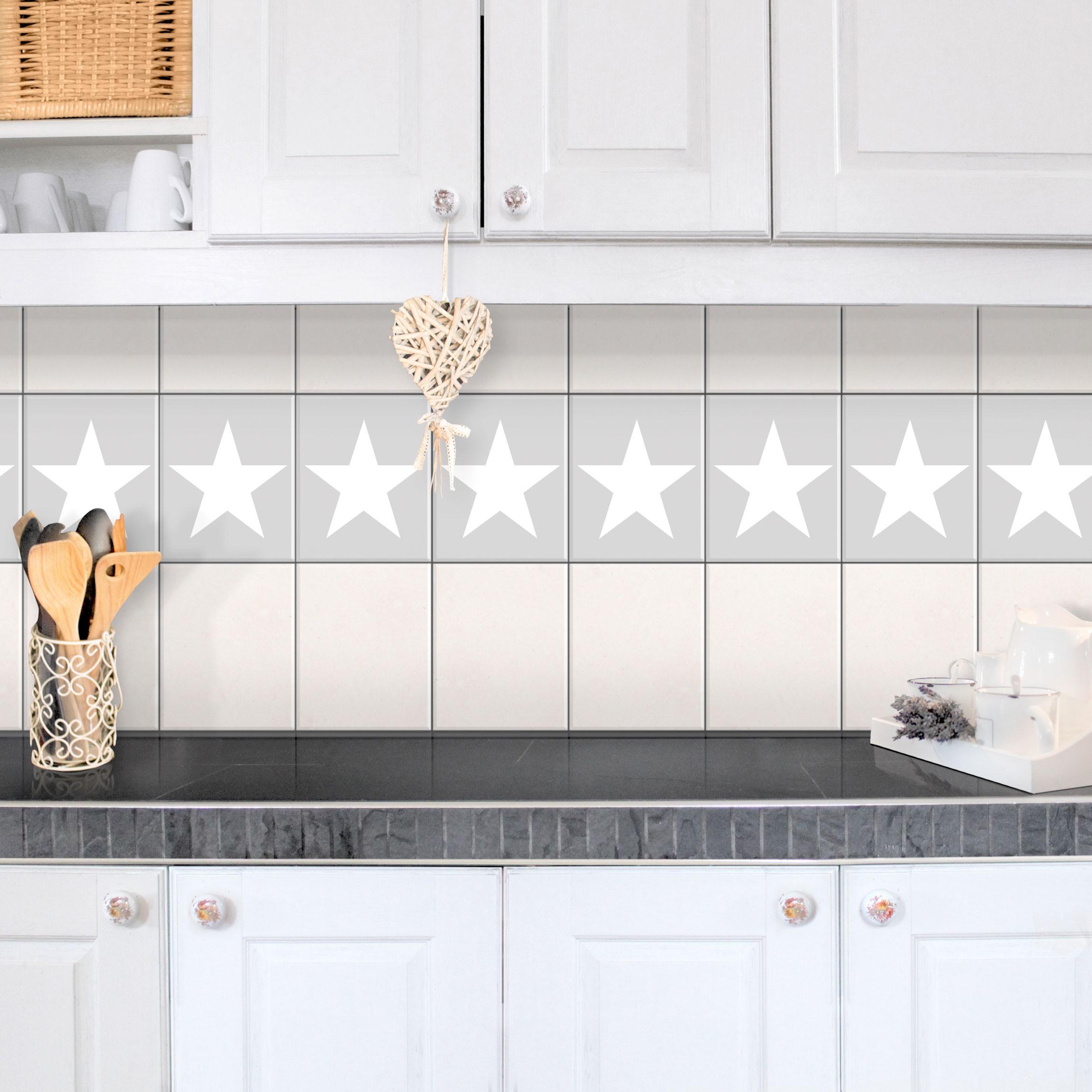 Fliesen Bordüre   Große Weiße Sterne Auf Grau 25x20 Cm   Fliesenaufkleber  Grau