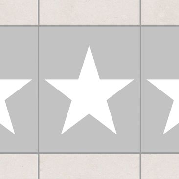 Produktfoto Tile Border   Large White Stars On Grey.