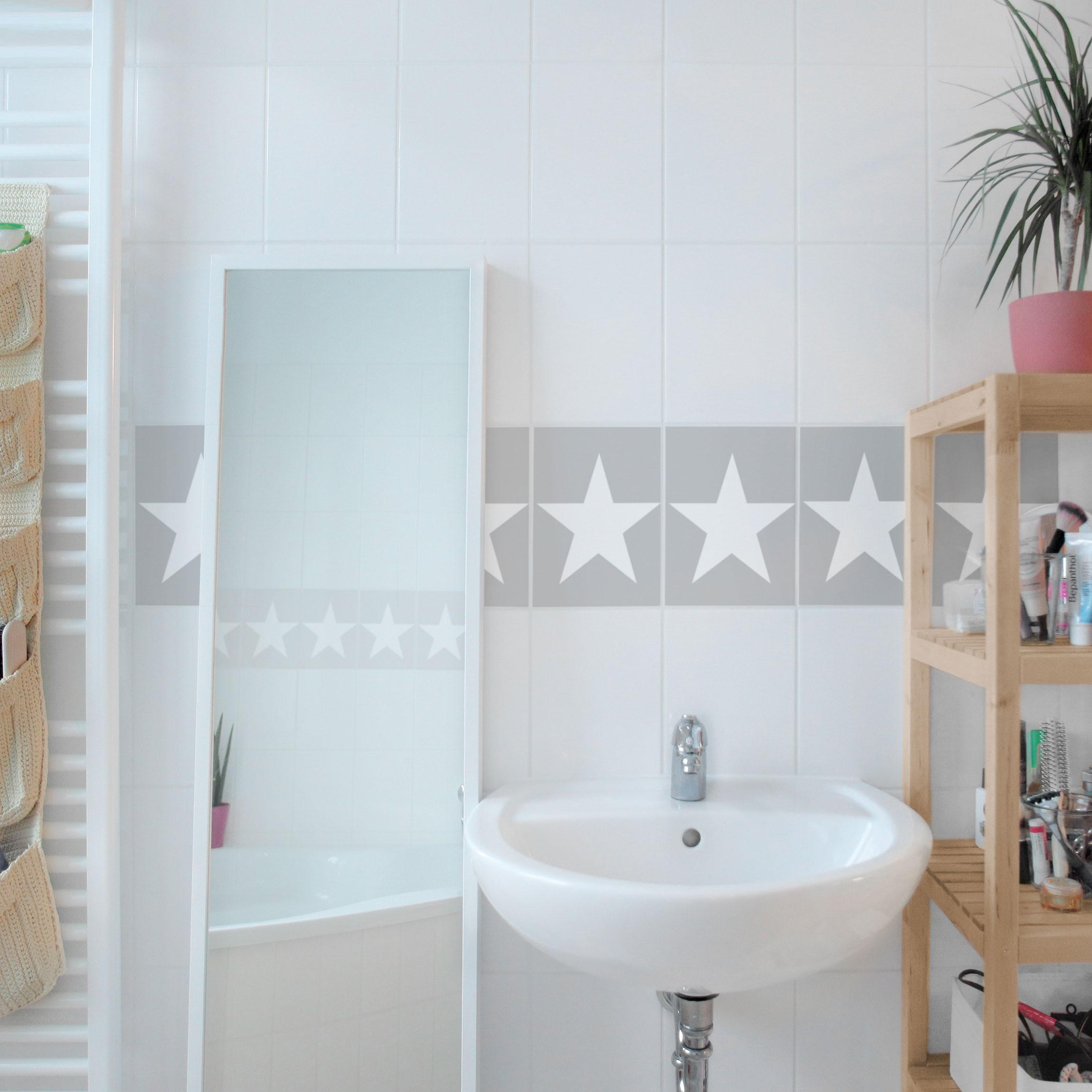 fliesen bord re gro e wei e sterne auf grau 20x15 cm fliesenaufkleber grau. Black Bedroom Furniture Sets. Home Design Ideas