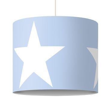 Produktfoto Pendelleuchte - Große Weiße Sterne auf Blau - Lampe - Lampenschirm Rosa