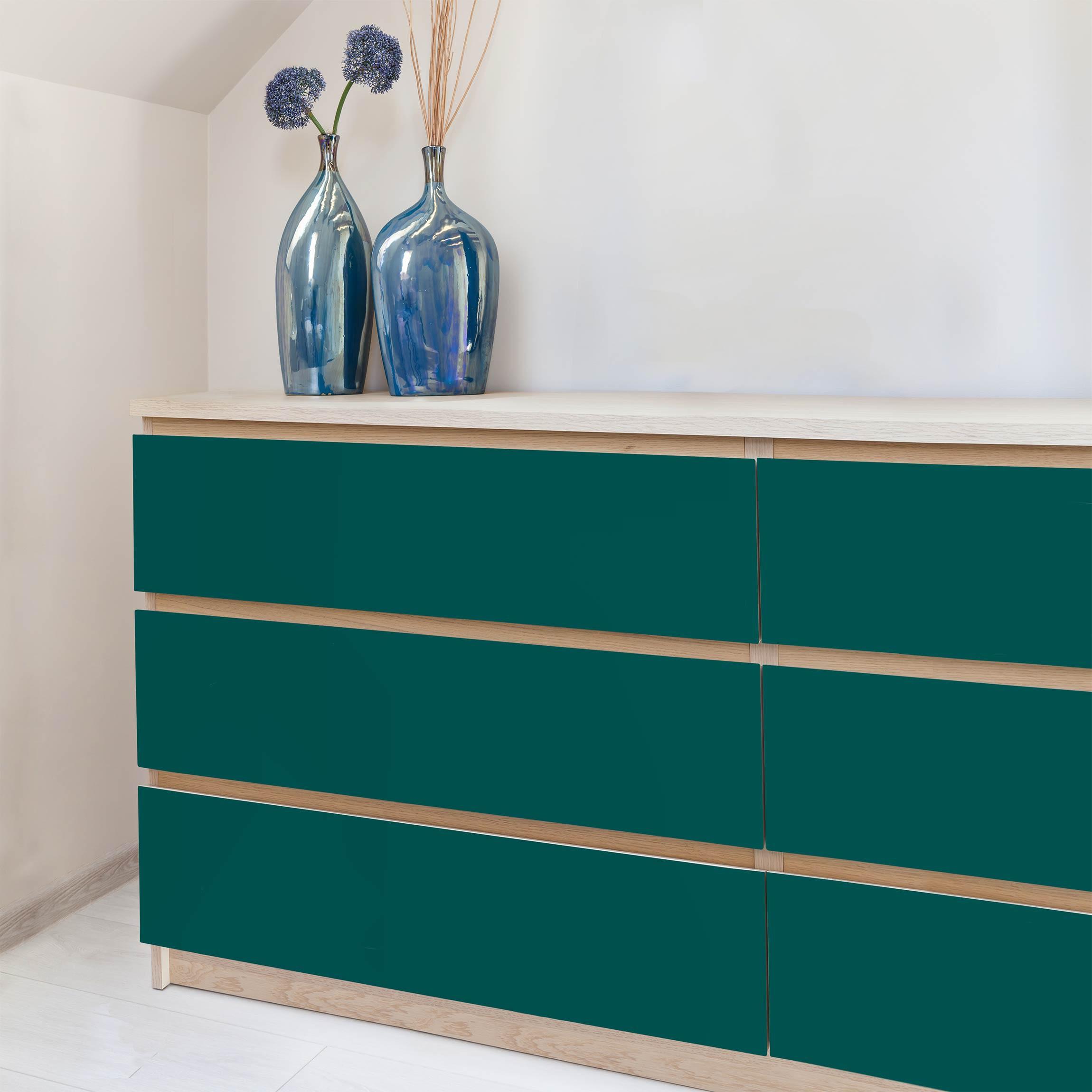 Badezimmerschrank Rot: Möbelfolie Grün-blau Einfarbig