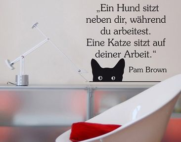 Product picture Wall Decal no.BR138 Katze auf Arbeit