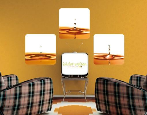 Produktfoto Selbstklebendes Wandbild Gold Drops Of Water Trio