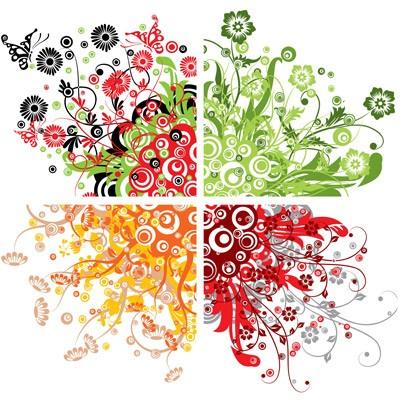 Produktfoto Selbstklebendes Wandbild Retro Flowers