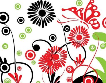 Product picture Wall Mural Retro Flowers