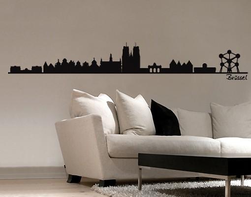 Produktfoto Stadt Brüssel - Wandtattoo Skyline - No.SF480 Brüssel Skyline