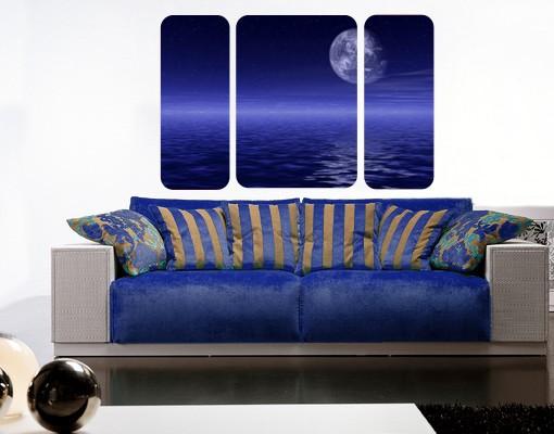 Produktfoto Selbstklebendes Wandbild The Moon and Ocean Triptychon II
